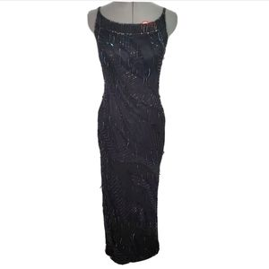 Roots prom beaded sequin black long sleeveless